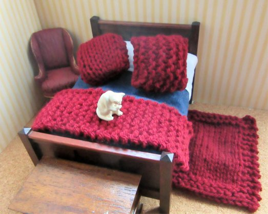 miniature knitted bedding