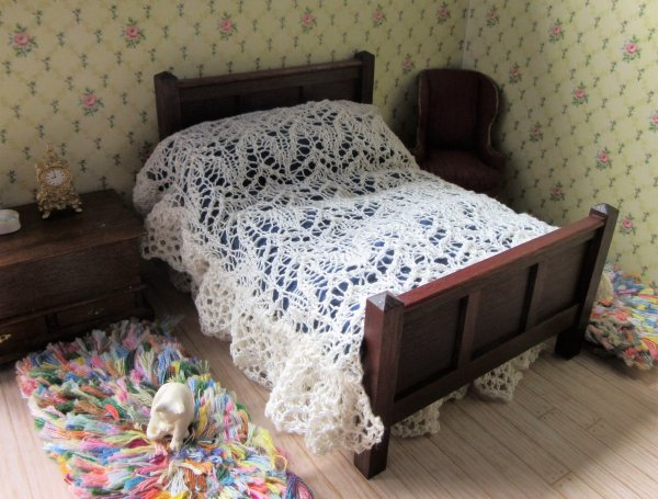 miniature knitted lace bedspread