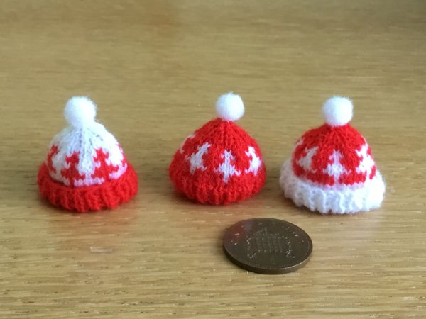 Miniature knitted hats