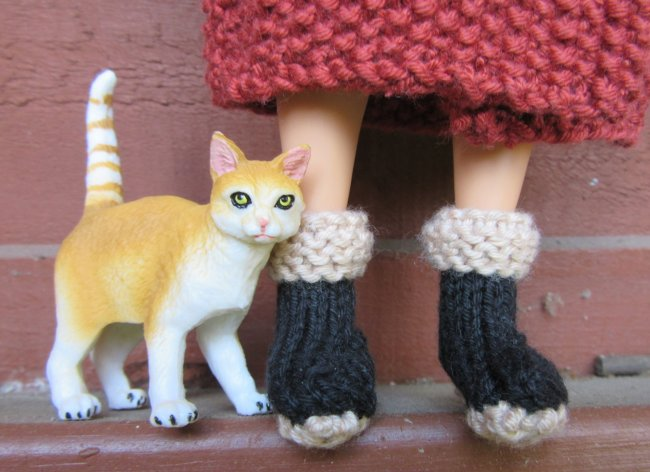 miniature knitted boots