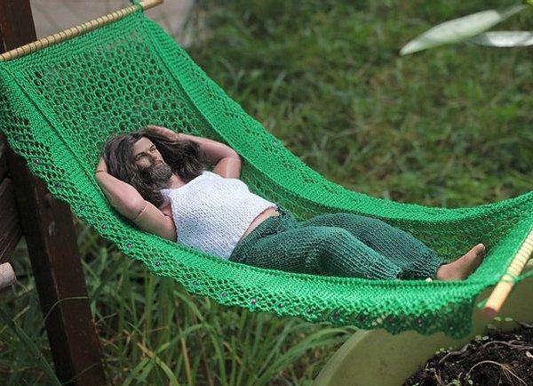 miniature knitted hammock