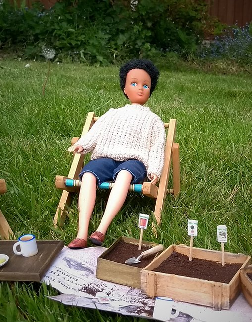 seed trays and doll