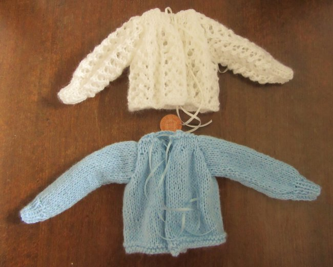 miniature knitted bed jackets