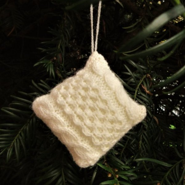 miniature knitted tree decoration