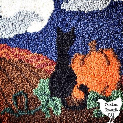 punch needle pumpkin patch black cat