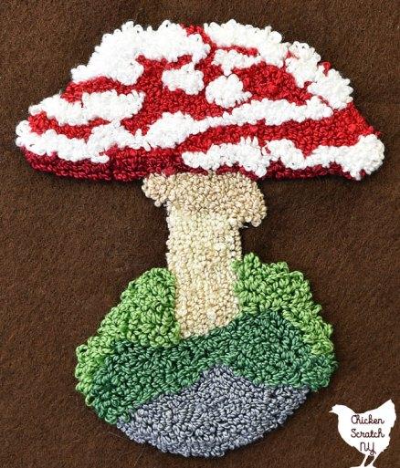 punch needle amanita mushroom pattern