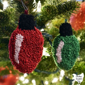 punch needle embroidery Christmas light bulb ornaments
