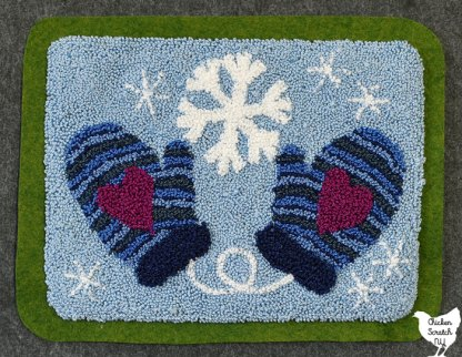 striped winter mittens with large hearts and snowflakes punch needle embroidery pattern