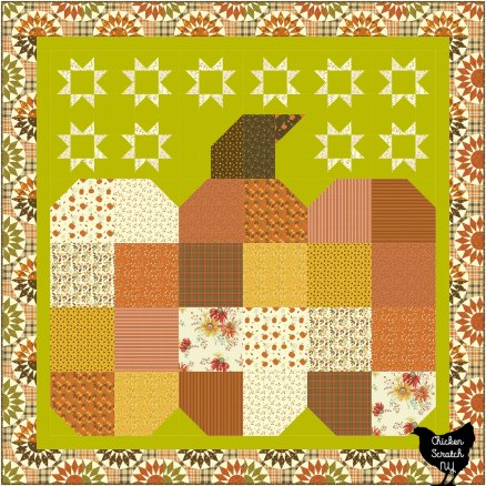 the great pumpkin throw quilt made with Adel in Autumn fabric
