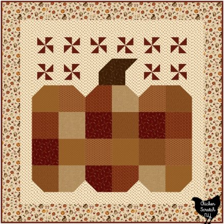 great pumpkin wall quilt made with Hello Fall Fabric from Henry Glass