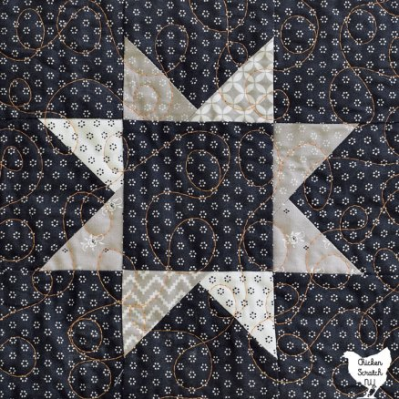 close up of star block from Great Pumpkin quilt