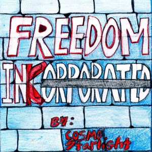 """""""corporated"""" on a brick wall is crossed-out and a """"k"""" is drawn over the """"c"""" to read """"Freedom Ink"""""""