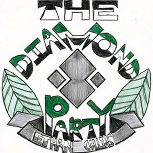 Four diamonds arranged in a diamond shape surrounded by a chevron leave crest banner in the middle of author Ethan Collins' The Diamond Party