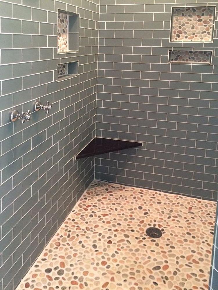 mosaic stone floor bathroom