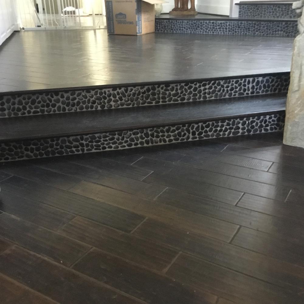 glazed charcoal black pebble tile