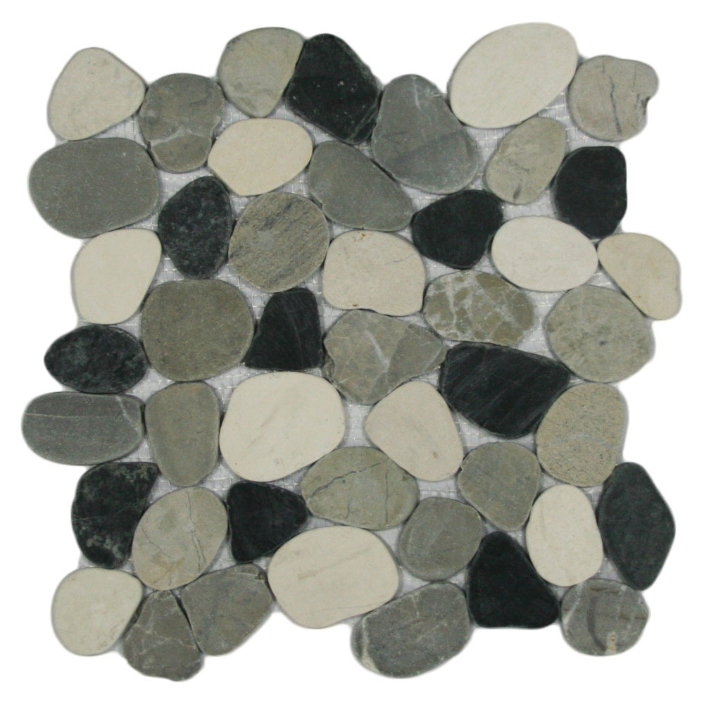 sliced mixed white black and grey pebble tile