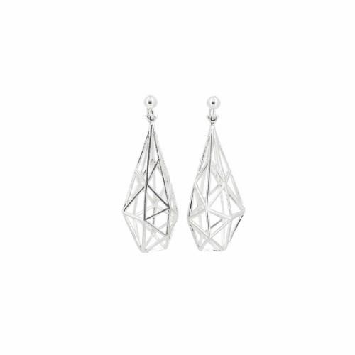 Earrings Blocks 3D Silver Unikke Design