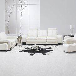 White Sofa Modern Living Room Luke Leather Macy Contemporary Set