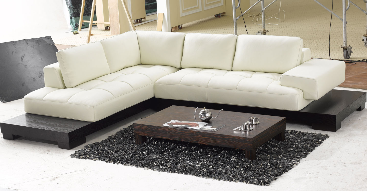 Contemporary L Shaped Cream Leather Sectional Sofa with Modern Wood Base Tosh  eBay