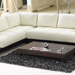 Wooden Sectional Sofa Leather Corner Housing Units Contemporary L Shaped Cream With