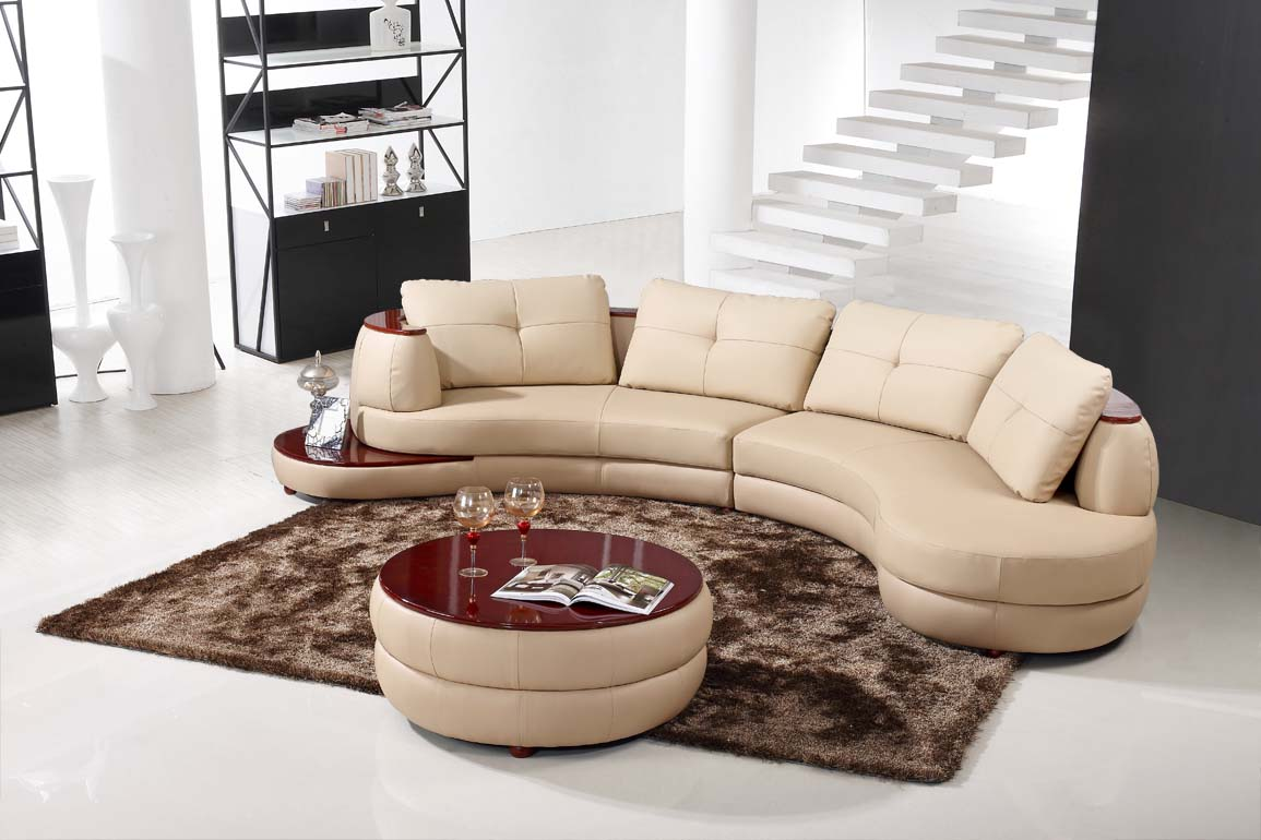 Contemporary Beige Leather Sectional Curved Sofa with Round Modern Ottoman  eBay