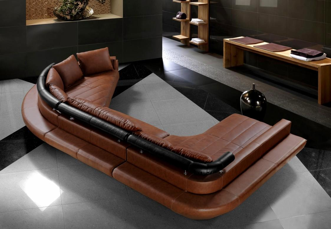 t57b ultra modern leather sectional sofa genuine corner bed black set with large