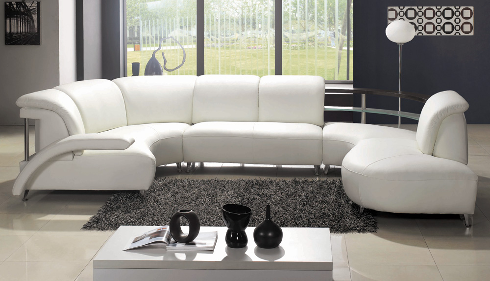 Contemporary Curved White Italian Leather Sectional Modern