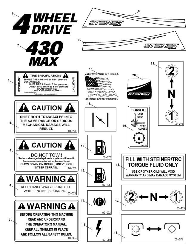 75-70008 430 Max 21HP Kubota Diesel (Steiner) > Decals