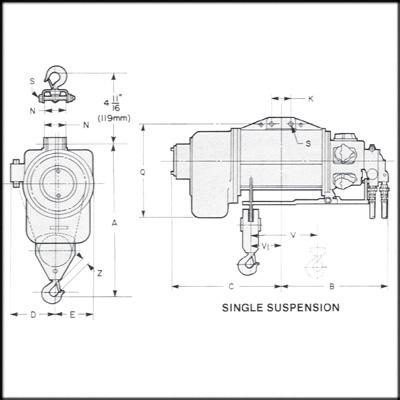 Ingersoll Rand IR-C6CA15 REBUILT WIRE ROPE AIR HOIST, 1
