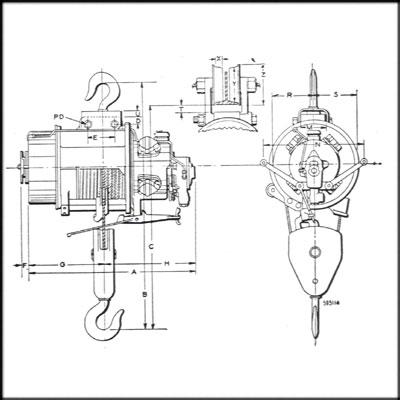 Ingersoll Rand IR-E REBUILT WIRE ROPE AIR HOIST, 5 TON CAP