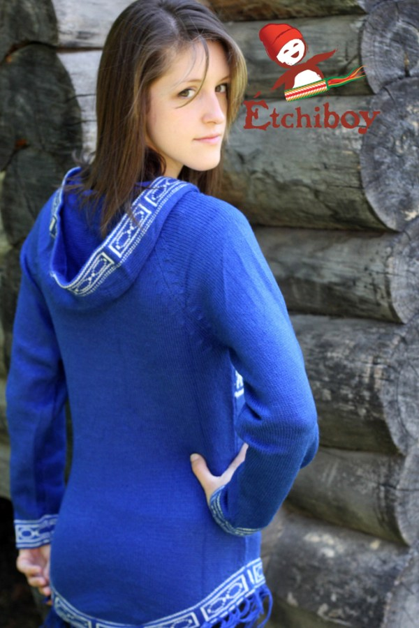 Hooded Blue Sweater With Bisons Chandail Bleu Avec Capuchon Avec Bisons 3