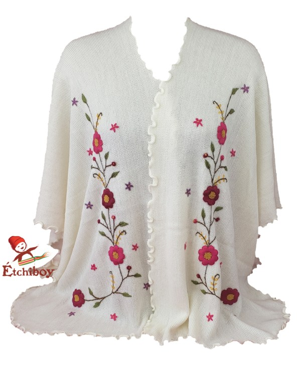 Flower Shawl White Châle Fleuri Blanc 4
