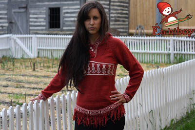 Hooded Red Sweater With Violins Chandail Rouge Avec Capuchon Avec Violons 3