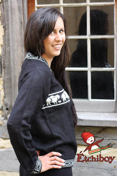 Black Sweater With Bisons Chandail Noir Avec Bisons Unisex 2