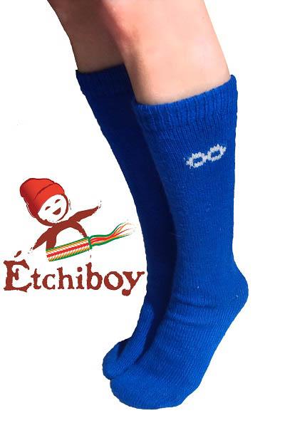Socks Bas Alpaca Wool Laine Alpaga Blue Bleu One Size Fits All 2
