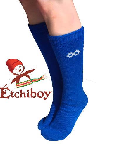 Knee high Socks Bas Hauteur Du Genou Alpaca Wool Laine Alpaga Blue Bleu One Size Fits All 2