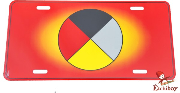 License Plate Medicine Wheel Plaque D'immatriculation Roue Médicinale 1