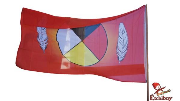 Medicine Wheel Flag Drapeau Roue Médicinale Full Size 2