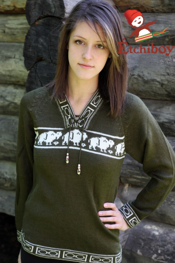 Olive Green Sweater With Bisons Chandail Vert Olive Avec Bisons Unisex 1