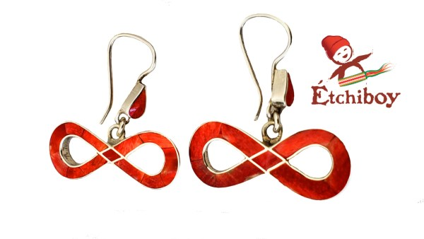 Silver Earrings Boucles D'oreilles en Argent Métis Red Rouge 1