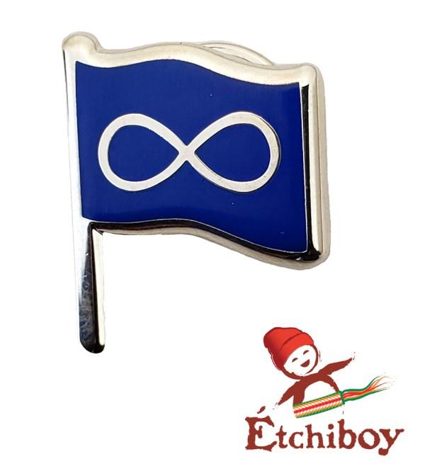 Pin Blue Métis Flag with Pole Épinglette Drapeau Métis Bleu avec Mât 2