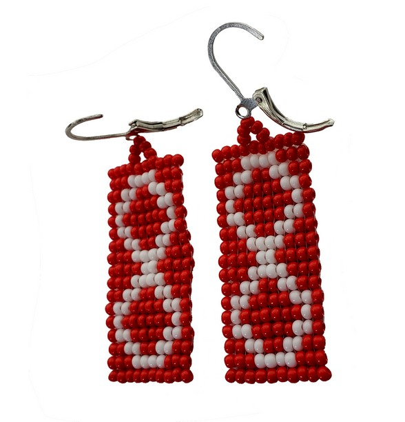 Beaded Earrings Boucles D'oreilles Perlées Métis Red Rouge 1