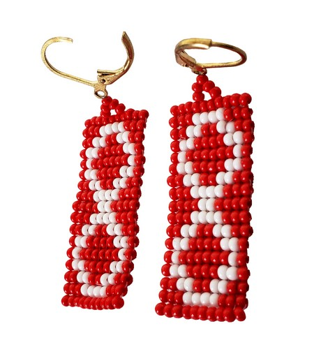 Beaded Earrings Boucles D'oreilles Perlées Métis Red Rouge 2