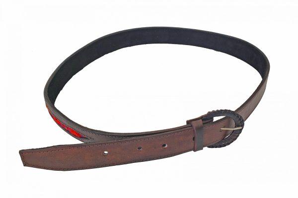 Leather Belt with Sash Inserts Ceinture de Cuir avec la Ceinture Fléchée Incrustrée 2
