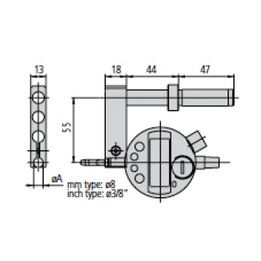 12AAA792 Mitutoyo Dial Indicator Holder with 8mm Stem for