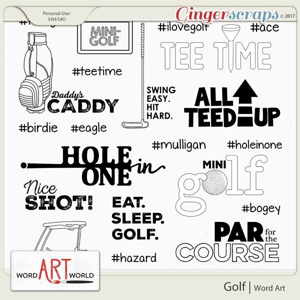 Golf Word Art Pack created by Word Art World