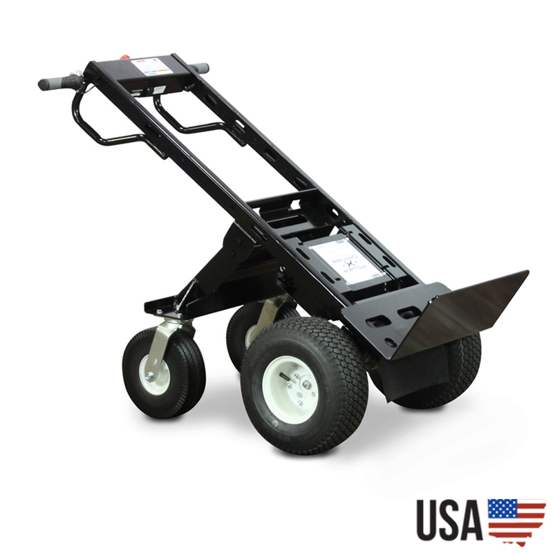 Electric powered wheelbarrow with 10 cu ft hopper for Motorized hand truck dolly