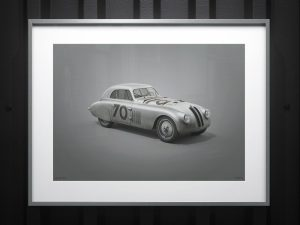 BMW 328 - Silver - Mille Miglia - 1940 - Colors of Speed Poster image 2 on GreatBritishMotorShows.com