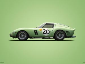 Ferrari 250 GTO - Green - 24h Le Mans - 1962 - Colors of Speed Poster image 1 on GreatBritishMotorShows.com