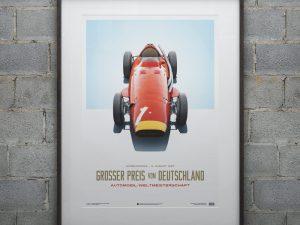 Maserati 250F - Juan Manuel Fangio - Red - German GP - Limited Poster image 2 on GreatBritishMotorShows.com